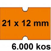 ETIKETE ZA NUMERATOR ENOREDNE 21x12 ODSTRANLJIVE ORANŽNE 6000/1