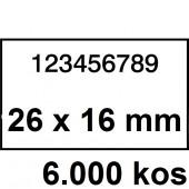 ETIKETE ZA NUMERATOR DVOREDNE 26x16 ODSTRANLJIVE BELE 6000/1