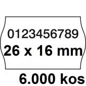 ETIKETE ZA NUMERATOR DVOREDNE 26x16 ODSTRANLJIVE OVALNE BELE 6000/1