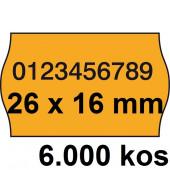ETIKETE ZA NUMERATOR DVOREDNE 26x16 ODSTRANLJIVE OVALNE ORANŽNE 6000/1