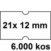 ETIKETE ZA NUMERATOR ENOREDNE 21x12 ODSTRANLJIVE BELE 6000/1