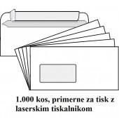 KUVERTA AMERIKANKA ZA LASERSKI TISKALNIK 110x230 LEVO OKNO TRAK BELA 90g  1000/1