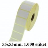 TERMO ETIKETE EKO V ROLI 55x53mm 40mm/105mm 1000/1