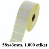 TERMO ETIKETE EKO V ROLI 58x43mm 40mm/103mm 1000/1